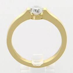 Bague solitaire contemporain serti demi-clos diamant 0,54 carat-or 18 carats