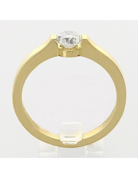 Bague solitaire contemporain serti demi-clos diamant 0,54 carat-or 18 carats