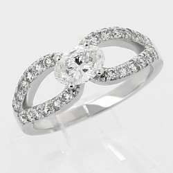 Bague lasso diamant ovale 0,50 ct - or 18 carats