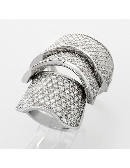 Bague articulée pavée serti grains diamants 5,66 carats-or 18 carats