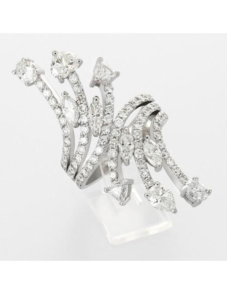Bague étoile fillante pavage diamants 4,14 carats - or 18 carats