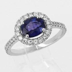 Bague saphir de Ceylan 1,46 ct et entourage diamant - or 18 carats