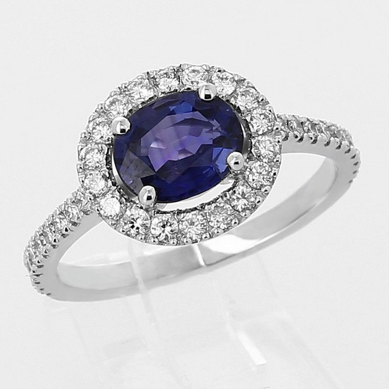 Bague saphir de Ceylan 1,46 ct et entourage diamant - or 18 carats