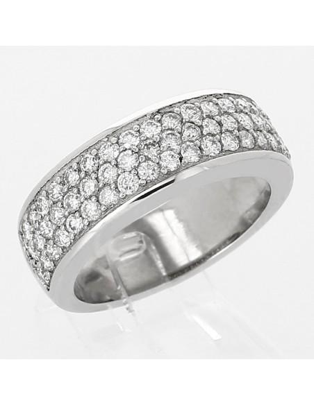 Bague pavée de diamants - 3 rangs diamants - pavage 1,08 carat - or 18 ct