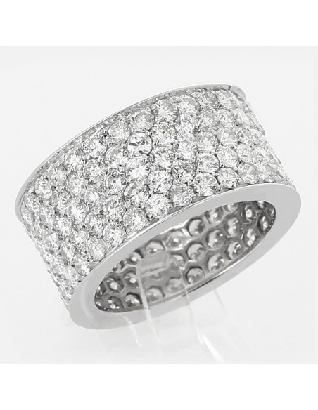 Bague pavée de diamants - 5 rangs diamants tour complet - pavage 6,08 carat - or 18 ct