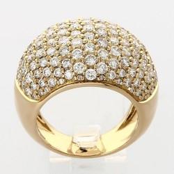 Bague jonc boule pavée diamants 3,10 carats-or 18 carats