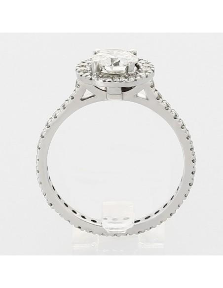 Bague diamant entourage pavé centre serti sur griffes et corps en mini-griffes diamants 1,40 carat - or 18 carats