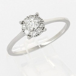 Bague solitaire illusion serti grains diamants 0,32 carat-or 18 carats