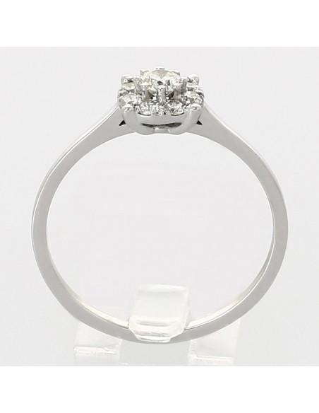 Bague solitaire illusion serti grains diamants 0,32 carat-or 18 carats
