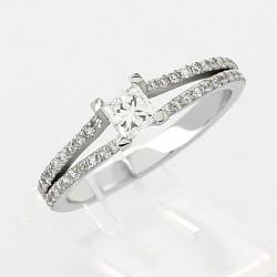 Bague double corps pavé centre princesse- serti griffes diamants 0,65 carat-or 18 carats