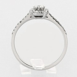 Bague solitaire illusion serti grains diamants 0,41 carat-or 18 carats