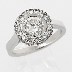 Solitaire entourage diamant rond 1,03 ct - or 18 carats