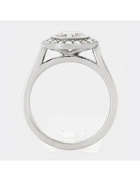 Solitaire entourage diamant rond 1,03 ct - or 18 carats