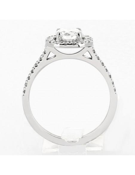 Bague fiancailles entourage coussin demi tour serti griffes diamants 0,90 carat-or 18 carats