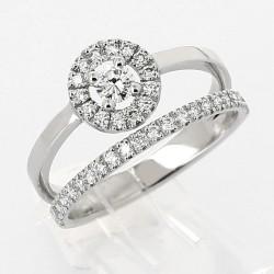Bague double anneau entourage rond micro-sertis brillant 0,65ct or 18 carats