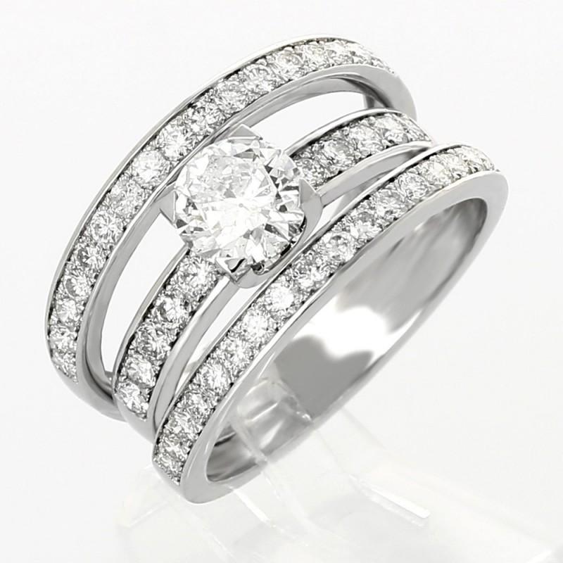 Bague fiancailles pavée 3 anneaux serti griffes  diamants 2,26 carats-or 18 carats