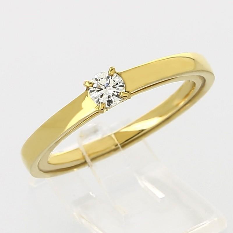 Solitaire double anneaux montée d'un diamant serti 4 griffes en or 18 carats