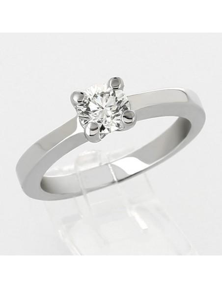 Bague de fiançailles en or 18 carats diamant rond serti griffes