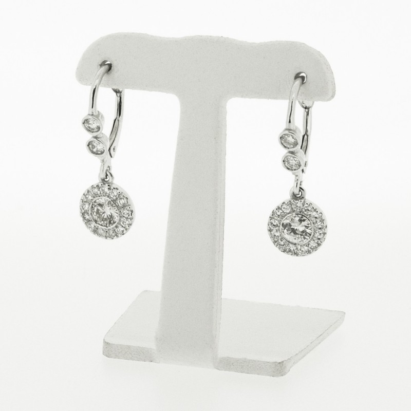 Boucles D Oreilles En Or Blanc 18k Et Diamant Celia