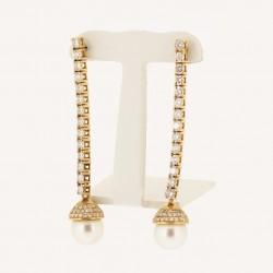 Boucles d'oreilles pendantes ornées de deux perles et pavées de diamants avec système alpas en or 18 carats