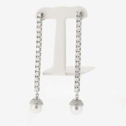 Boucles d'oreilles pendantes montées de deux perles et d'un pavage diamants sur système alpas en or 18 carats