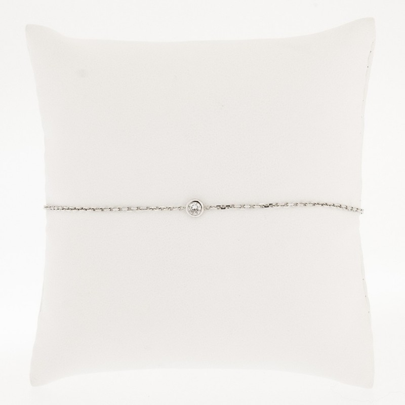 Bracelet enfant mini oui diamant serti clos en or 18 carats