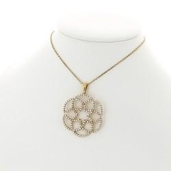 Pendentif collier femme rosace serti de 144 diamants en mini-griffes (2 carats) monté avec une bélière-or 18 carats