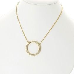 Collier sautoir 66 cm en or 18 carats, motif cercle pavé de diamants