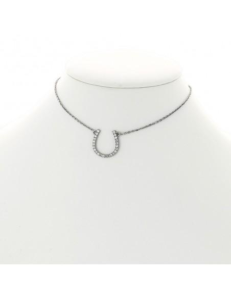 Collier fer à cheval diamants 0,28 carat-or 18 carats
