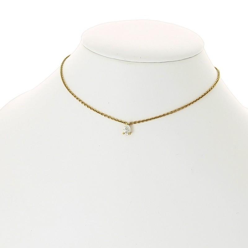 Collier pendentif coeœur femme 1 diamant serti sur 3 griffes pour un poids de 0,40 carat, sans bélière, en or 18 carats