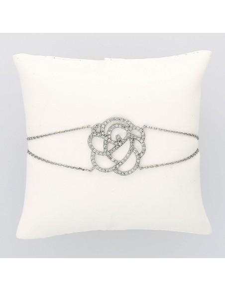 Bracelet fleur double chaine serti mini griffes diamants 1,01 carat-or 18 carats