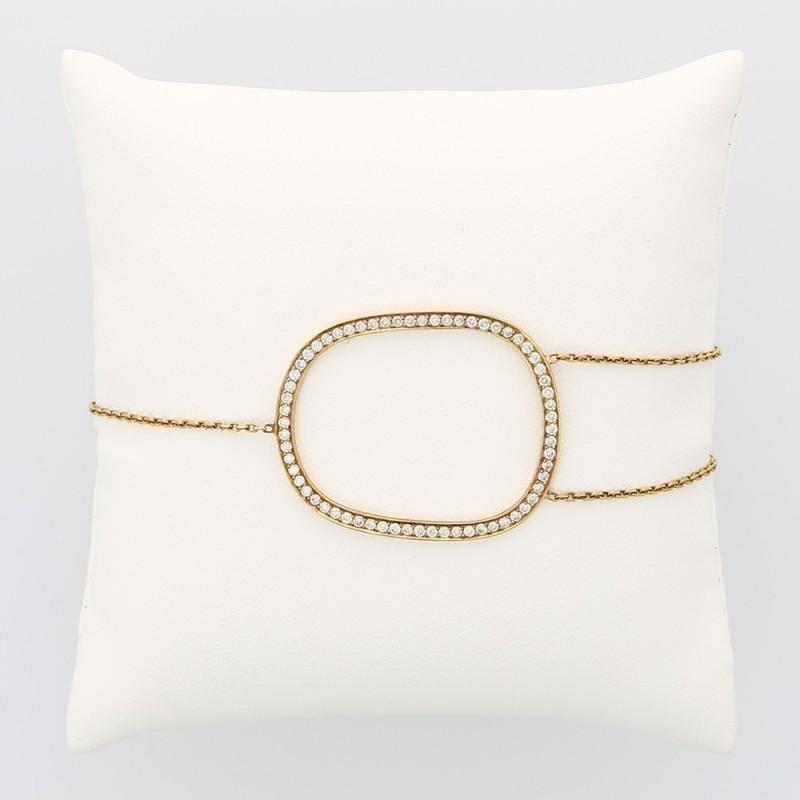 Bracelet femme ovale double chaines décalées serti de 64 diamants en grains pour un caratage total de 0,71 carat en or 18 carats