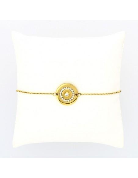 Bracelet cible serti de 20 diamants pour un caratage total de 0,28 carat pour femme ou enfant-or 18 carats