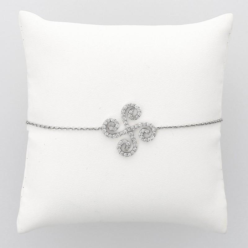 Bracelet diamant arabesques serti grains 0,66 ct - or 18 carats
