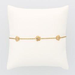 Bracelet femme 5 motifs fleur serti de diamants dans la masse pour un caratage total de 0,10 carat en or 18 carats