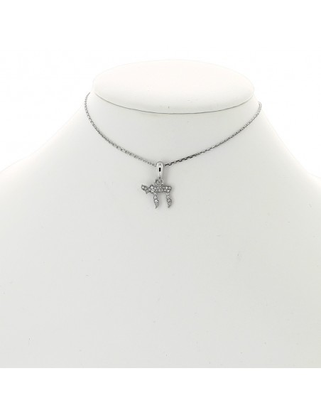 Collier pendentif diamant pavé enfant motif Haï  or 18 carats  25 diamants