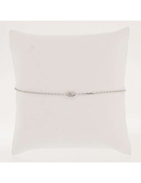 Bracelet enfant motif navette  monté d'un diamant serti grains en or 18 carats