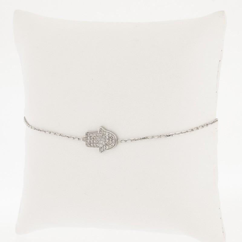 """Bracelet enfant motif """"main de fatma"""" pavé de diamants sertis grains en or 18 carats"""
