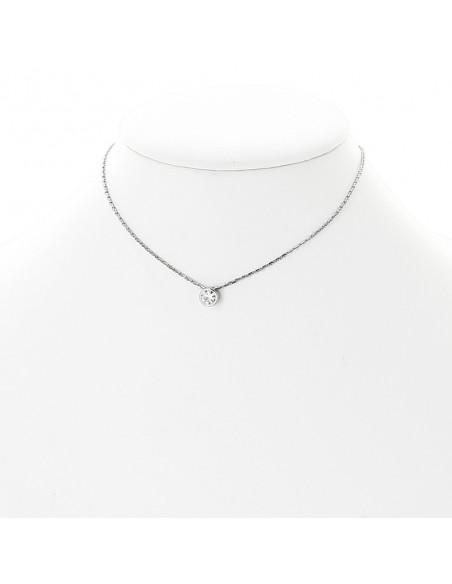 Pendentif diamant serti clos coulissant sur chaine en or 18 carats