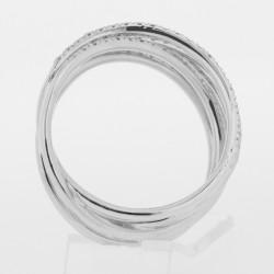 Bague original à multiples anneaux entrecroisés pavés de diamants sertis mini-griffes en or 18 carats