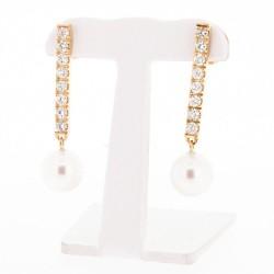 Boucles d'oreilles pendantes en or rose 18 carats pavées de diamants et montées de 2 perles