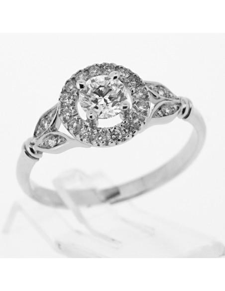 Bague de fiançailles vintage monté d'un diamant entouré sur corps avec feuilles en or 18 carats