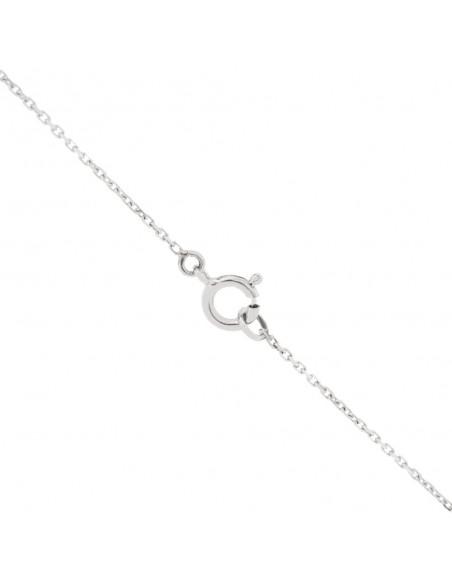 Pendentif diamant rond serti sur 4 griffes en or 18 carats sur câble transparent
