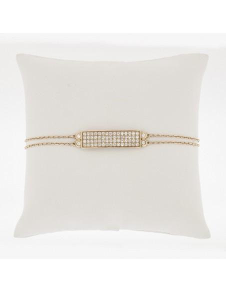 Bracelet pavé de diamants, double chaine assortie de diamants serti clos - Or 18 carats - 60 diamants
