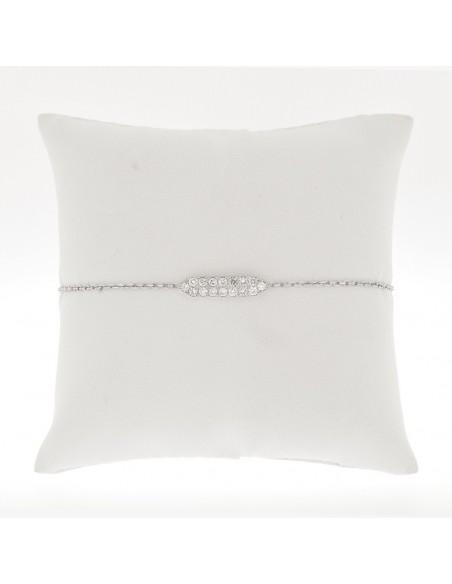 Bracelet barette 2 rangs diamants sertis grains - Or 18 carats