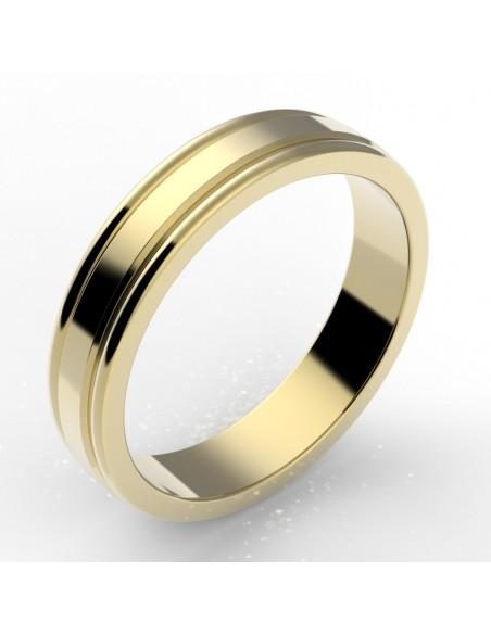 Alliance godron homme or 18 carats 4,5 mm
