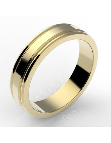Alliance godron homme or 18 carats 5 mm