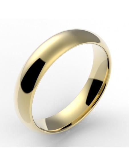 Alliance homme demi jonc confort 5 mm - or 18 carats