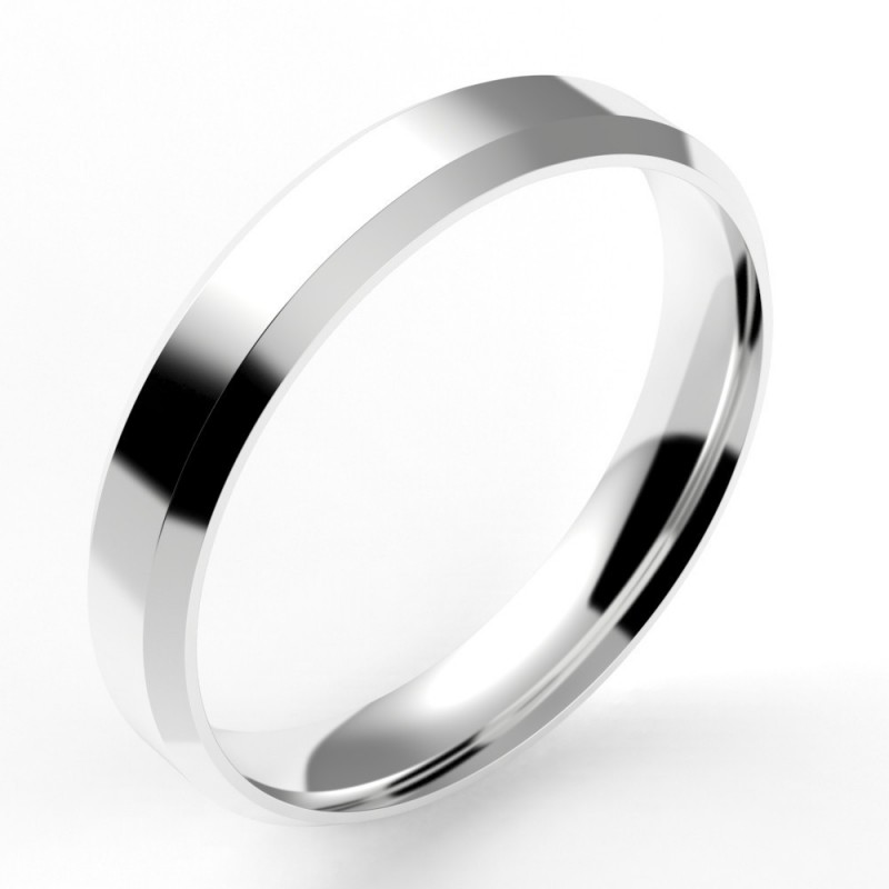 Alliance homme chanfrein confort 4 mm - or 18 carats