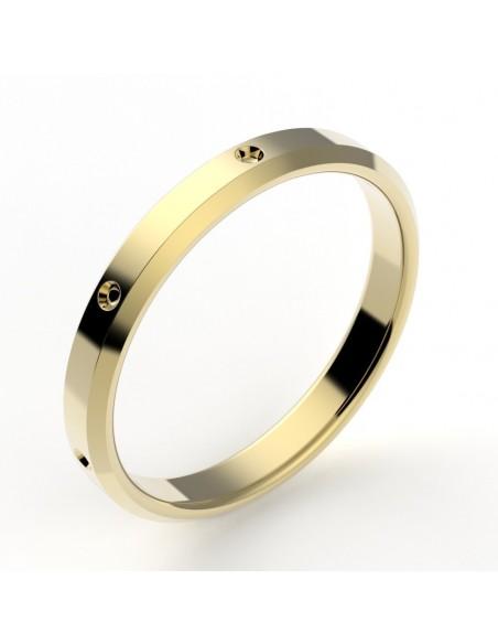 Alliance mariage chanfrainée fraisée or 18 carats 2,7 mm